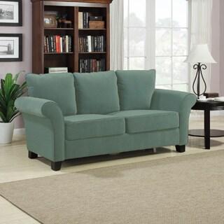 Handy Living Provant Turquoise Blue Velvet Sofa
