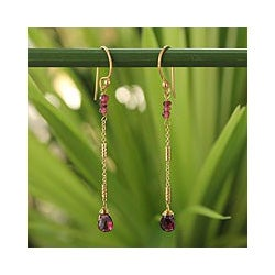 Gold Overlay 'Lanna Chimes' Garnet Dangle Earrings (Thailand)