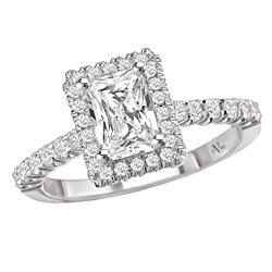 Avanti 14k White Gold 1/3ct TDW Diamond Halo Engagement Ring (G/H, SI1-SI2) - Thumbnail 0