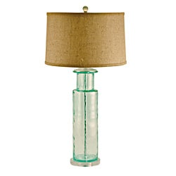 Green Recycled Glass Cylinder Lamp - Thumbnail 0