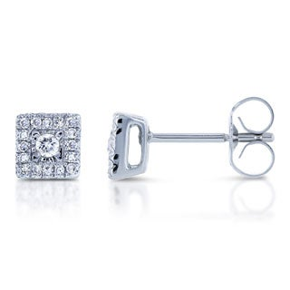 Annello by Kobelli 10k White Gold 1/6ct TDW Multi Stone Princess Diamond Earrings (H-I, I