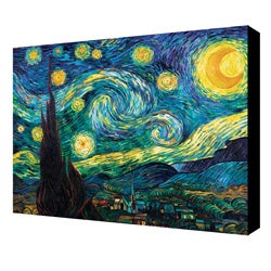 Vincent Van Gogh 'Starry Night' Gallery-wrapped Canvas Art - Black/Blue/Green - 24 x 30
