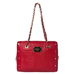 Versace Stitched Red Patent Leather Shoulder Bag