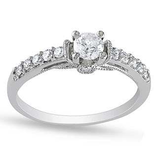 Miadora 10k White Gold 3/5ct TDW Diamond Engagement Ring