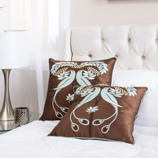 Light Blue Embroidered Pillows (Set of 2) by Christopher Knight Home