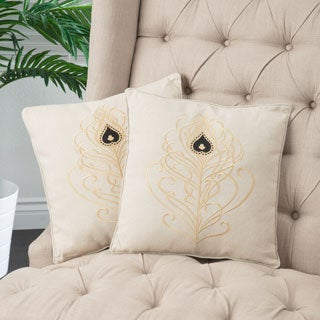Light Brown Embroidered Pillows (Set of 2)