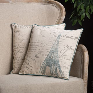 Embroidered Eiffel Tower Pillows (Set of 2) by Christopher Knight Home