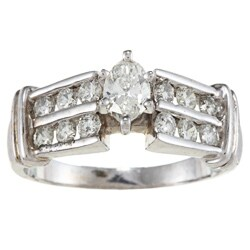 Victoria Kay 14k White Gold 1ct TDW Marquise Diamond Engagement Ring