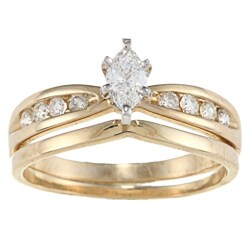 Victoria Kay 14k Yellow Gold 1/2ct TDW Marquise Diamond Bridal Ring Set
