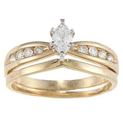 Victoria Kay 14k Yellow Gold 1 2ct TDW Marquise Diamond Bridal Ring Set