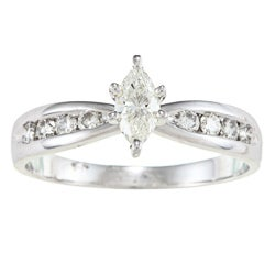 Victoria Kay 14k White Gold 1/2ct TDW Marquise Diamond Engagement Ring