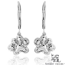 ASPCA Silver 1/6ct TDW Diamond 'Tender Voices' Paw Earrings (I-J, I2-I3)