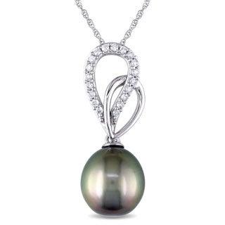 Miadora Miaodra 10k White Gold Tahitan Pearl and 1/8ct TDW Diamond Necklace (H-I, I2-I3)