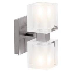 Access 'Astor' Brushed Steel with Frosted Crystal Glass 2-light Wall Sconce
