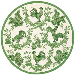 Safavieh Hand-hooked Hens Ivory/ Green Wool Rug (8' Round)