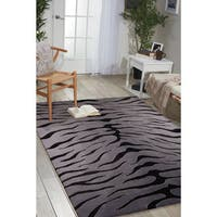 "Nourison Hand-tufted Contours Animal Print Black Grey Rug - 5' x 7'6"""