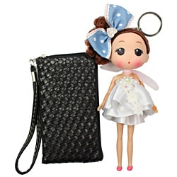 Unico 'Lora' Black Leather Wristlet with Doll Keychain