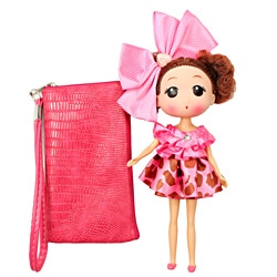 Unico 'Candy' Pink Leather Wristlet with Doll