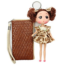 Unico 'Rose' Brown Leather Wristlet with Doll Keychain