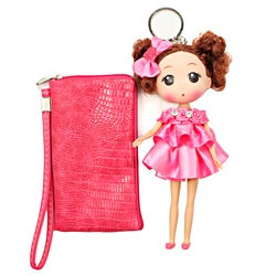 Unico 'Wendy' Pink Leather Wristlet with Doll Keychain