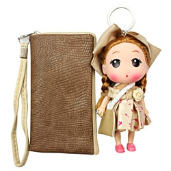 Unico 'Eva' Taupe Leather Wristlet with Doll Keychain