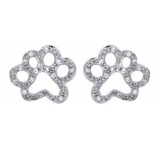 Tender Voices Sterling Silver 1/10ctTW Open Paw Diamond Earring