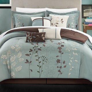 Copper Grove Point Pelee Aqua Blue Floral Pring 8-piece Bed in a Bag Set