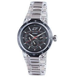 Chronotech Men's Black Dial Transparent Stainless Steel Watch