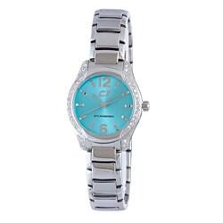 Chronotech Women's Aqua Dial Crystal Bezel Stainless Steel Watch