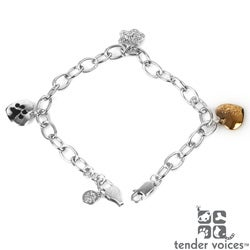 ASPCA Tender Voices Sterling Silver 1/10CTtw Diamond Accent Paw Bracelet (I-J, I2-I3)