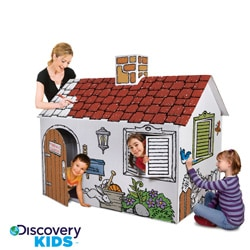 Discovery Kids Cardboard Color and Play Playhouse