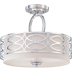 Harlow Nickel and Slate Gray Fabric Shade 3-Light Semi Flush Fixture