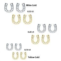 10k Gold 1/10 to 1/3ct TDW Diamond Horseshoe Stud Earrings (H-I, I1-I2)
