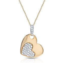 14k Two-tone Gold 1/8ct TDW Diamond Heart Necklace (G-H, I1-I2)