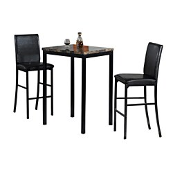 Home SourceEllie Dark Brown 3 Piece Counter Height Bistro Set with Faux Marble Table and 2 Faux Leather Side Chairs