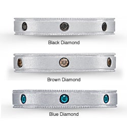 Victoria Kay Sterling Silver 1/8ct TDW Black, Brown or Blue Diamond Stackable Ring