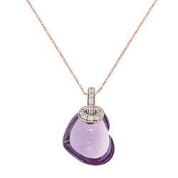 Beverly Hills Charm 14k Rosegold Amethyst and 1/3ct TDW Diamond Heart Necklace (H-I, SI2-I1)