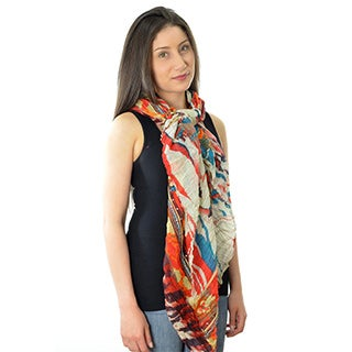 LA77 Village-Inspired Women's Animal and Floral-print Scarf