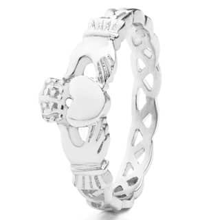 ELYA Stainless Steel Claddagh Ring with Celtic Knot Eternity Design (3mm)|https://ak1.ostkcdn.com/images/products/P14528217a.jpg?impolicy=medium