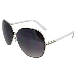 Women's White Oval Fashion Plastic Sunglasses
