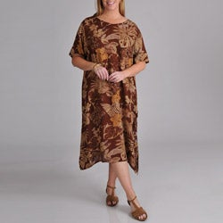 La Cera Women's Plus Brown Floral Print Dress