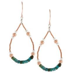 Southwest Moon Green Turquoise Heishi Liquid Copper Loop Earrings