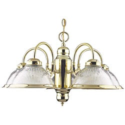 Polished Brass Five Light Chandelier - Thumbnail 0