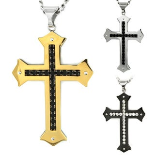 Crucible Stainless Steel Men's Cubic Zirconia Cross Necklace (2 options available)