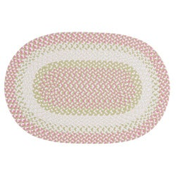 Thumbnail 1, Pinwheel Pink Colored Fabric Blended Accent Rug (2' x 3').