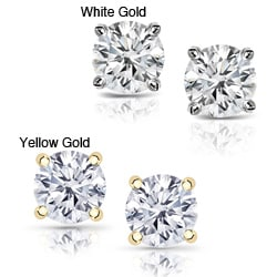 14k Gold 1 1/2ct TDW Clarity-enhanced Diamond Stud Earrings