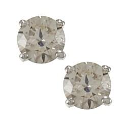 Platinum 1/2ct TW Round Clarity Enhanced Diamond Stud Earrings
