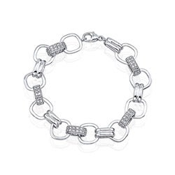 Victoria Kay Sterling Silver 1/10ct TDW White Diamond Flexible Bracelet (JK, I2-I3)