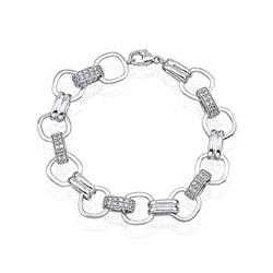 Victoria Kay Sterling Silver 1/10ct TDW White Diamond Flexible Bracelet (JK, I2-I3)