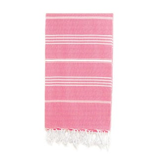 Authentic Pestemal Fouta Original Pink and White Pencil Turkish Cotton Bath/ Beach Towel